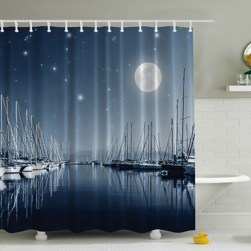Pier In A Moonlight Print Shower Curtain