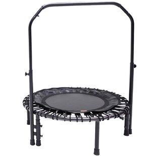 SKYBOUND Nimbus Round Folding Fitness Rebounder 3' Trampoline with Handlebar and Free Carrying Case