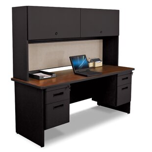 Crivello 2 Right and 2 Left Drawers Computer Desk with Hutch