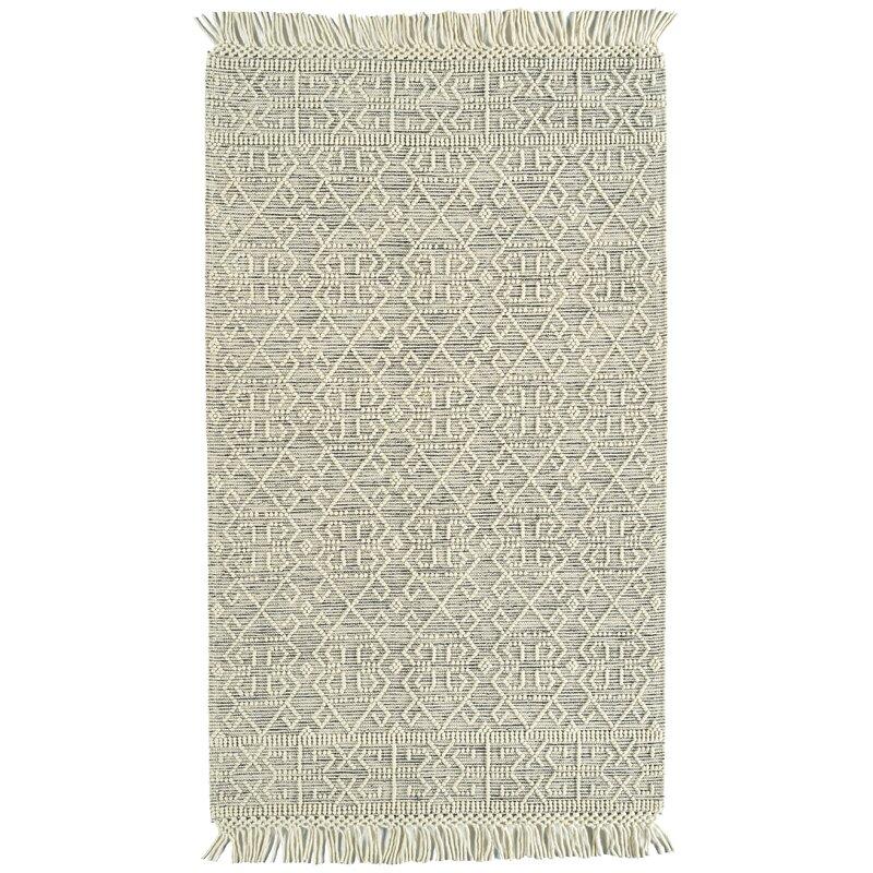 Dakota Fields Geometric Handmade Flatweave Wool Ivory Area Rug Wayfair