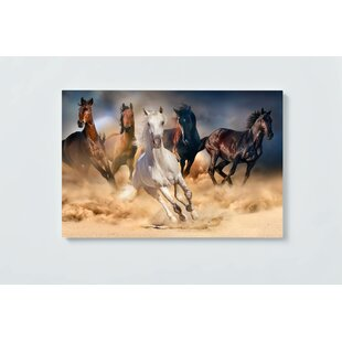 Horses Motif Magnetic Wall Mounted Cork Board By Ebern Designs