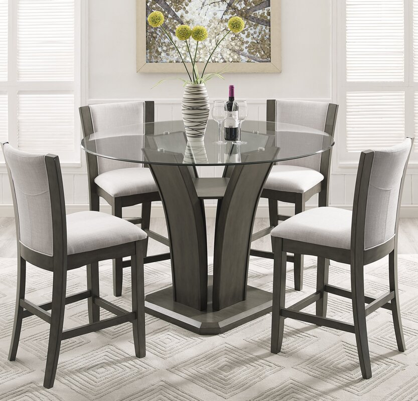 Wonderful Kangas 5 Piece Round Glass Top Counter Height Dining Set