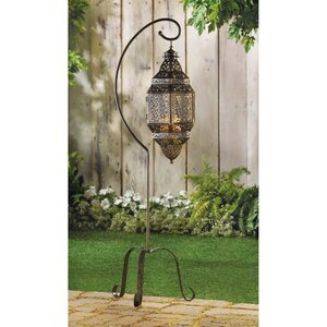 Rhonda Iron Lantern with Pillar Candle