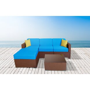 Chipps 5 Piece Rattan Sectional Seating Group with Cushions