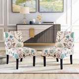 Gliese Linen Upholstered Stacking Parsons Chair in Beige/Teal by Red Barrel Studio®