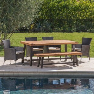 Lebo Outdoor 6 Piece Dining Set with Cush..
