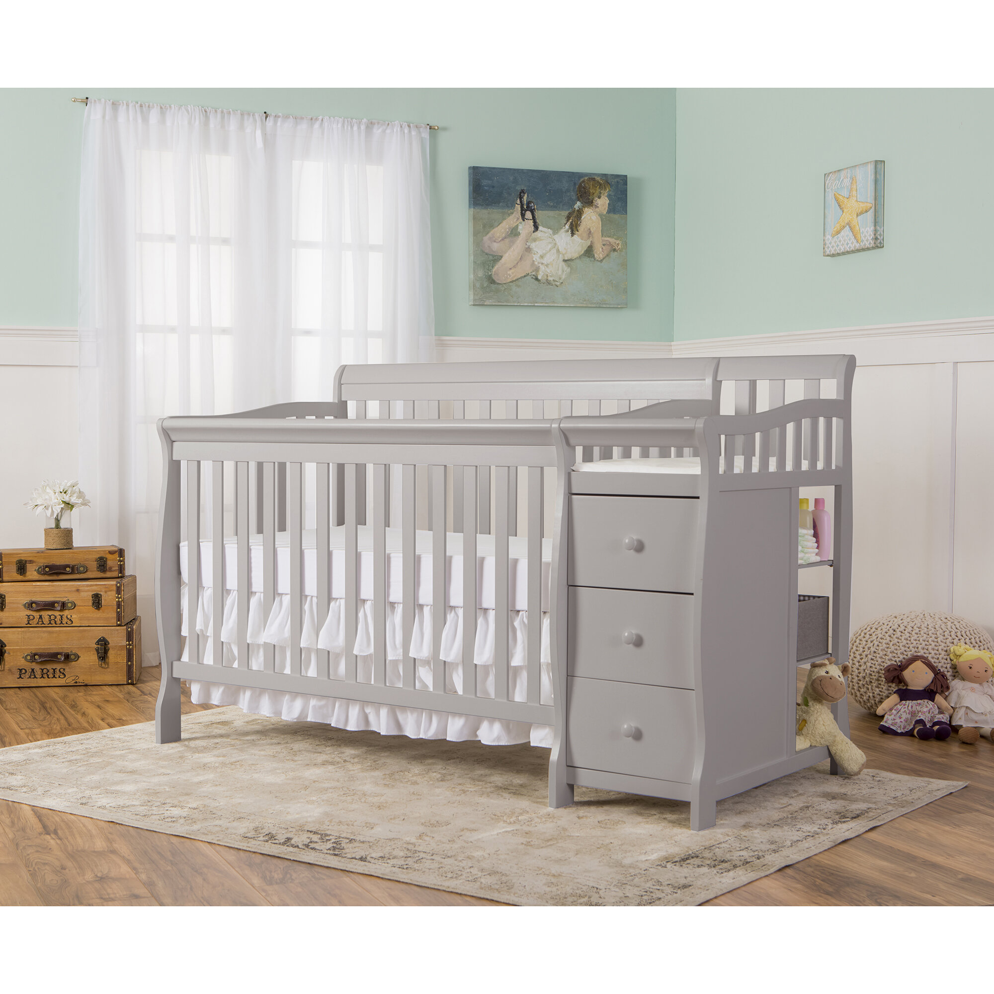 Pearl White Dream On Me Universal Convertible Crib Toddler Guard Rail