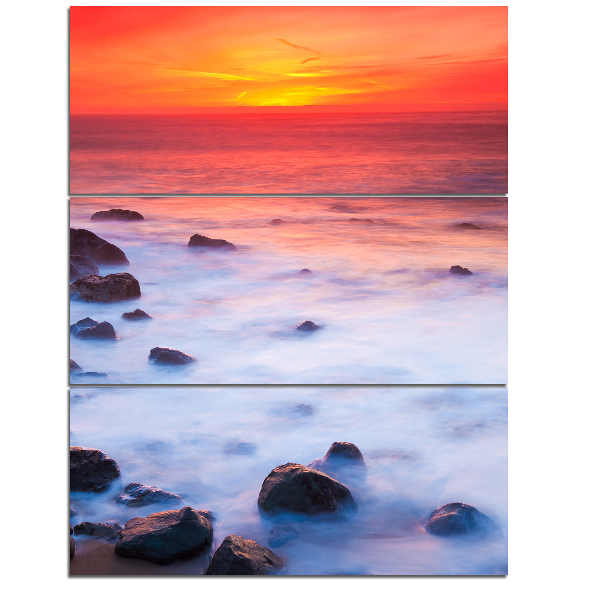 Designart Bright Red Rocky Coast Sunset 3 Piece Graphic Art On Wrapped Canvas Set Wayfair