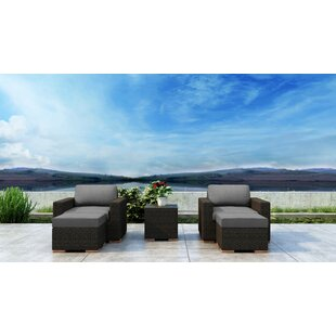 Everly Quinn Glen Ellyn 5 Piece Conversation Set with Sunbrella Cushion