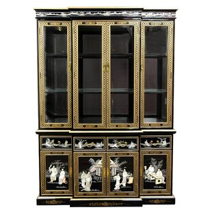 Oriental Furniture Lacquer Lighted China Cabinet