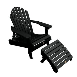 Longshore Tides Camacho Plastic Folding Adirondack Chair with Ottoman
