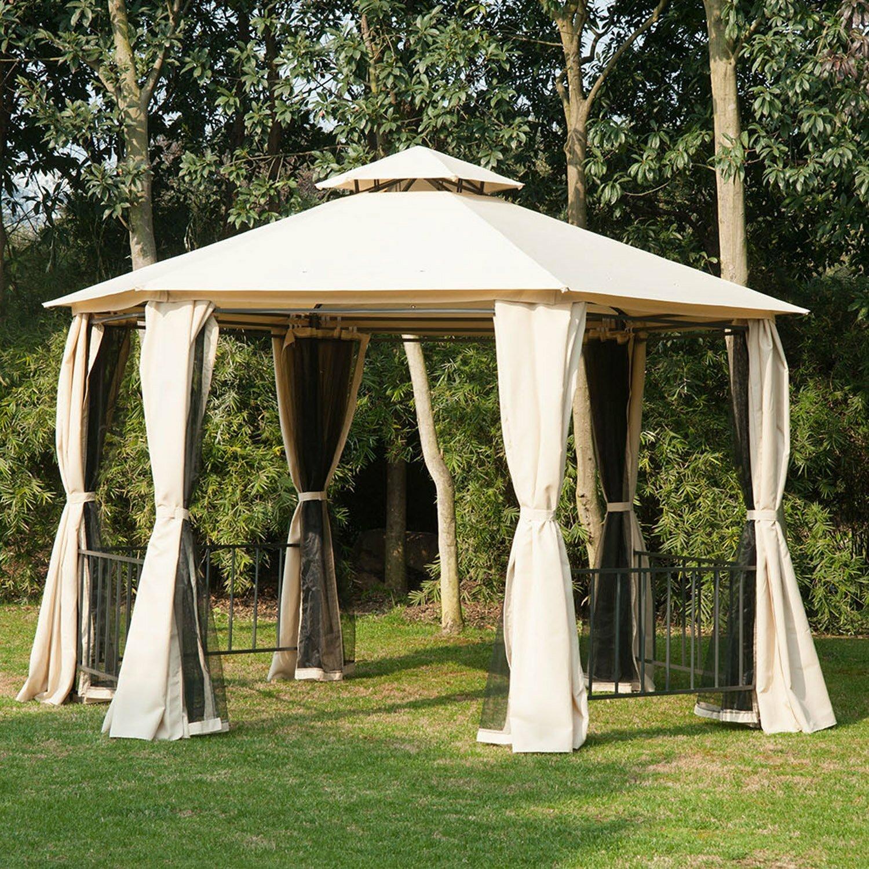 Pergola Bois Et Fer outsunny 10 ft. w x 11 ft. d steel patio gazebo & reviews