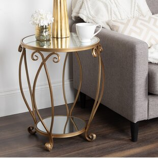 House of Hampton Chau Round Mirrored Metal End Table