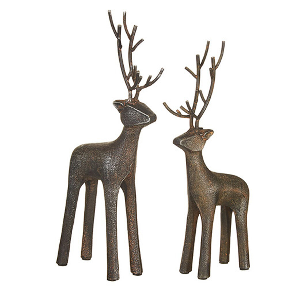 The Holiday Aisle 2 Piece Metal Deer Set Wayfair