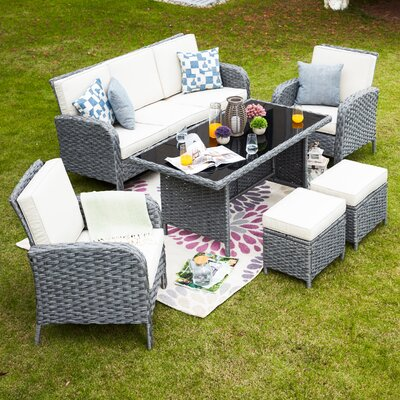 One Allium Way Brixham 6 Piece Rattan Sofa Seating Group with Cushions Cushion Color: Beige