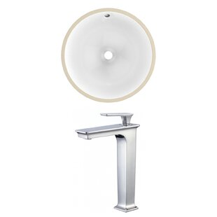 Best Review CUPC Ceramic Circular Undermount Bathroom Sink with Faucet and Overflow ByAmerican Imaginations