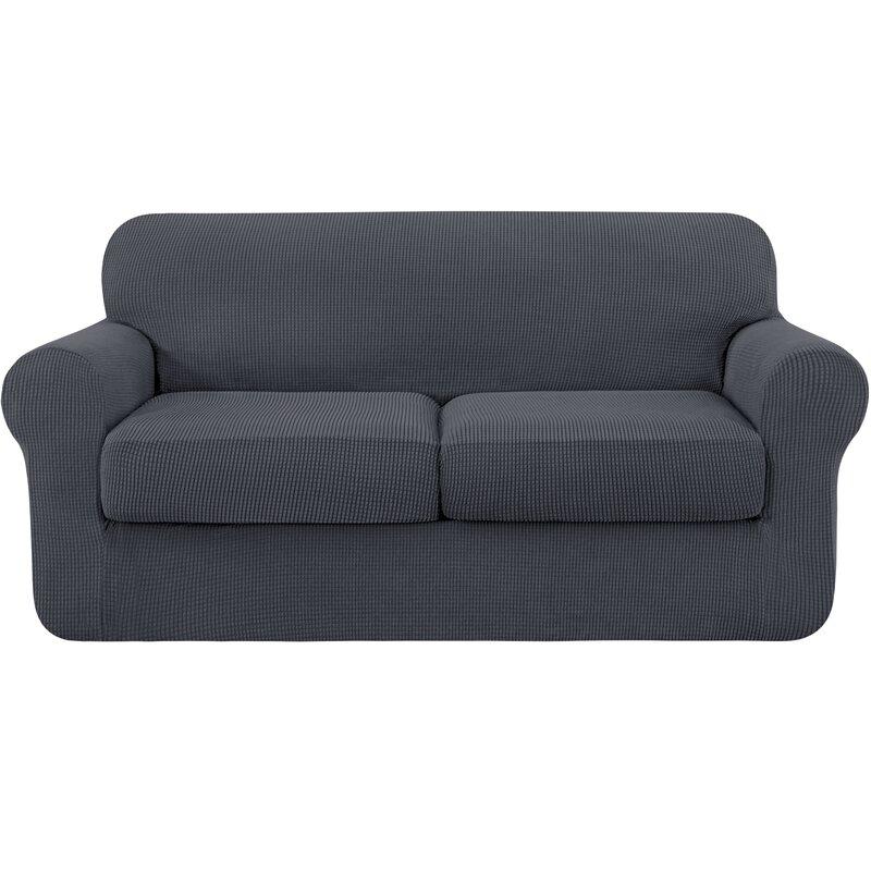 Rosalind Wheeler Textured Grid Soft Stretch Separate Box Cushion Loveseat Slipcover Reviews Wayfair Co Uk
