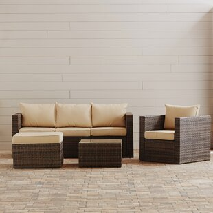 Rister 4 Piece Rattan Sofa Seatin Group Sectional Set with Cushions