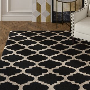 Deals Frank Hand-Hooked Black Area Rug By House of Hampton