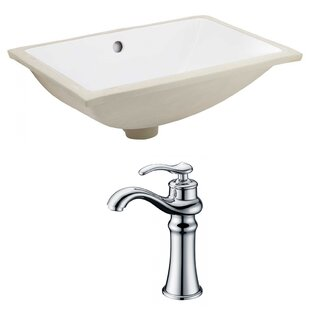 Savings Ceramic Rectangular Undermount Bathroom Sink with Faucet and Overflow ByAmerican Imaginations