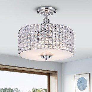 Everly Quinn Yinn Crystal 4-Light Semi Flush Mount