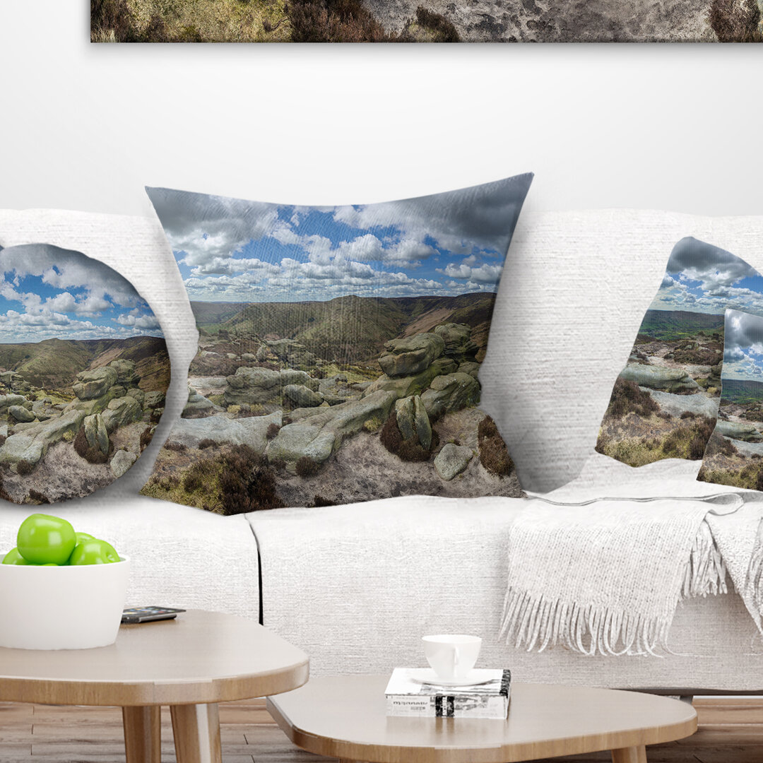 East Urban Home Landscape Printed Clouds And Stones Under Wild Clouds Pillow Wayfair