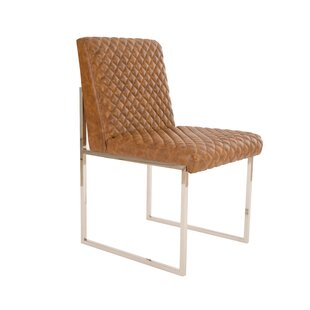 Croskey Cognac Quilted Upholstered Dining Chair 17 Stories