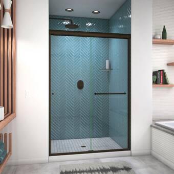 Arizona Shower Door Ete 60 X 80 38 Bypass Semi Frameless Shower Door Wayfair