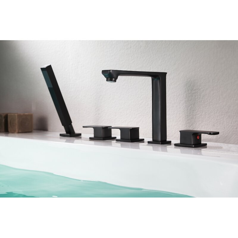 Anzzi Shore Triple Handle Deck Mounted Roman Tub Faucet With Diverter And Handshower Wayfair