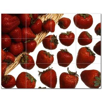 Picture Tiles Com 4 X 4 Ceramic Fruits Vegetables Decorative Mural Tile In Red White Wayfair