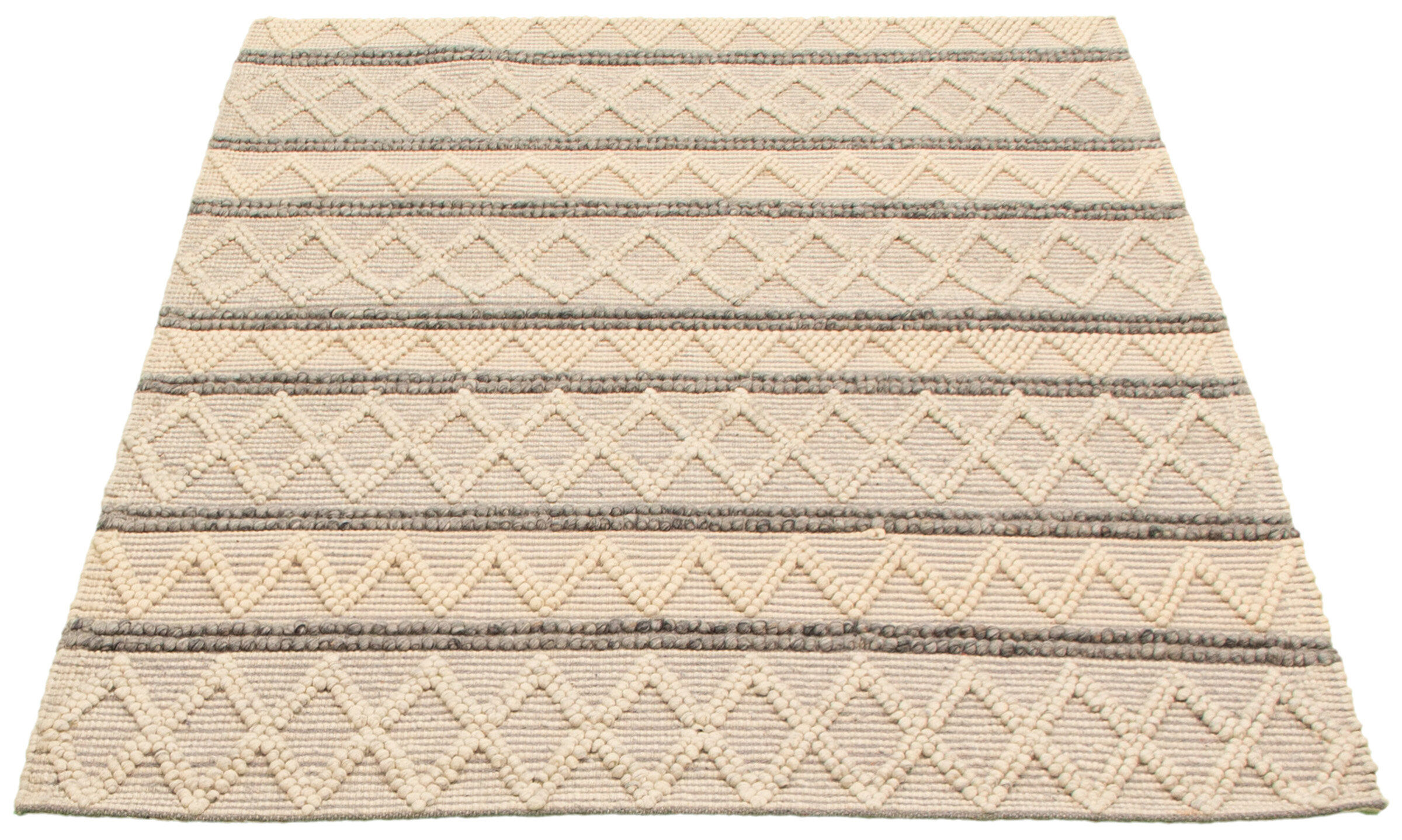 Dakota Fields Geometric Hand Braided Wool Cream Area Rug Wayfair