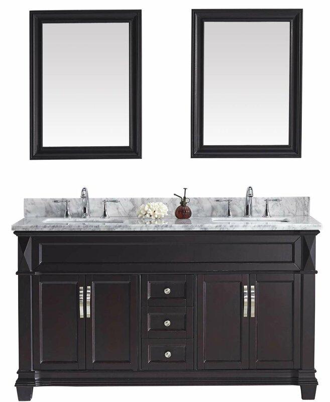 """Double Bathroom Vanities With Tops virtu usa victoria 61"""" double bathroom vanity set with white"""