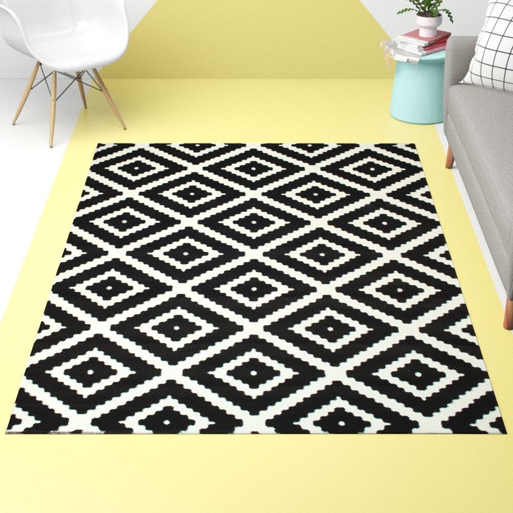 Hashtag Home Leana Geometric Black White Rug Reviews Wayfair