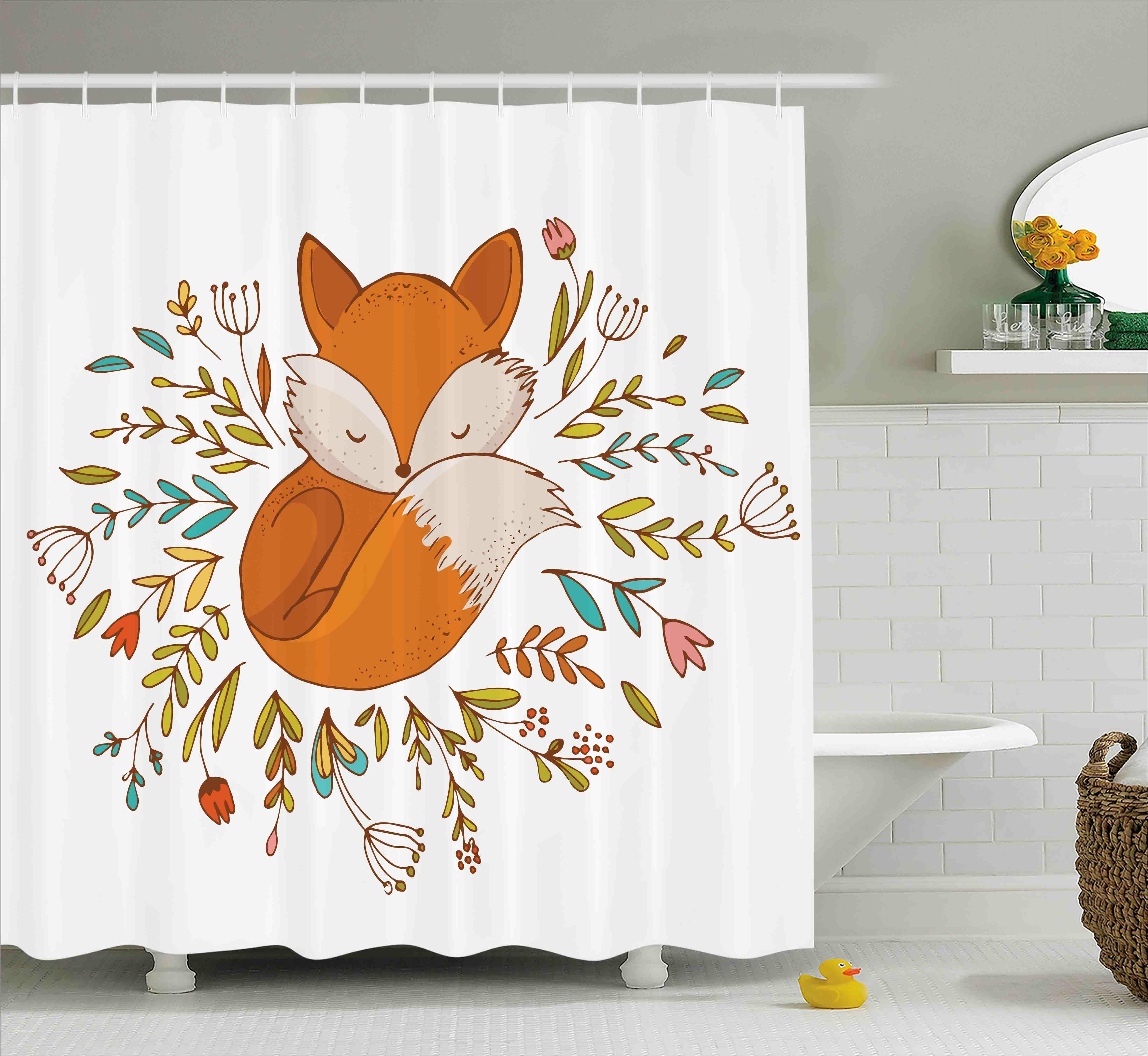 Harriet Bee Jefferson Cute Baby Fox Flowers Shower Curtain