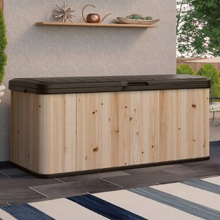 Suncast 120 Gallon Cedar and Resin Deck Box