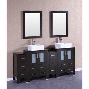 Filipo 72 Double Bathroom Vanity Set with Mirror by Bosconi