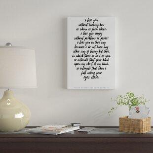 Pablo Neruda Love Quote Textual Art On Canvas