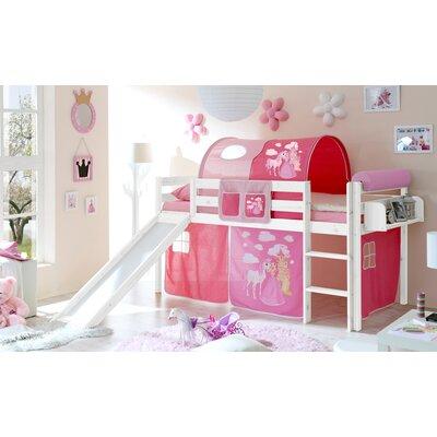 Hochbett Trinity mit Vorhang  90 x 200 cm   Kinderzimmer > Kinderbetten > Hochbetten   Rosa - Weiß   Holz - Baumwolle   Roomie Kidz