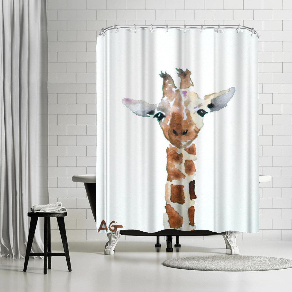 East Urban Home Allison Gray Giraffe Single Shower Curtain Wayfair