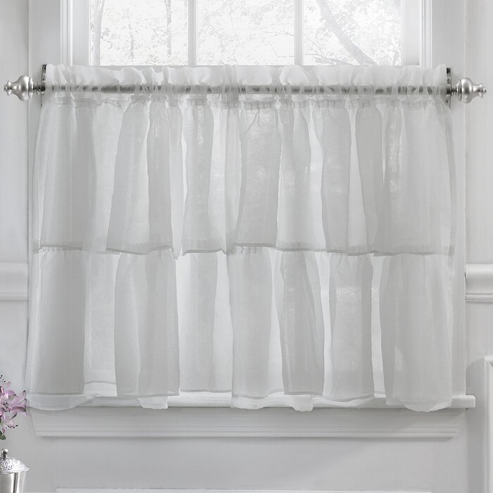 Elegant Crushed Voile Ruffle Kitchen Window Tier Cafe Curtain