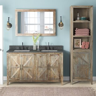 Warm Springs Solid Elm 22 Double Bathroom Vanity Set with Mirror by Laurel Foundry Modern Farmhouse