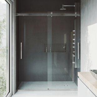 Reviews Caspian 61 x 73.5 Sliding Adjustable Frameless Shower Door ByVIGO