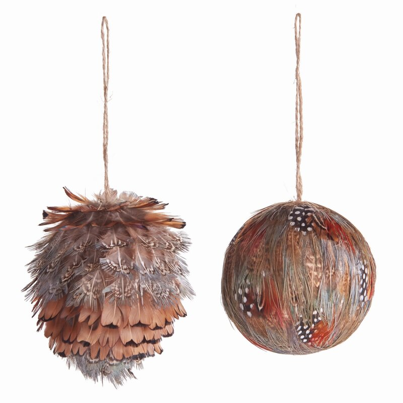 2 Piece Feather Ball Holiday Shaped Ornament Set Joss Main