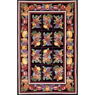 Best Reviews Bucks County Fruit Pettipoint Black Area Rug By American Home Rug Co.