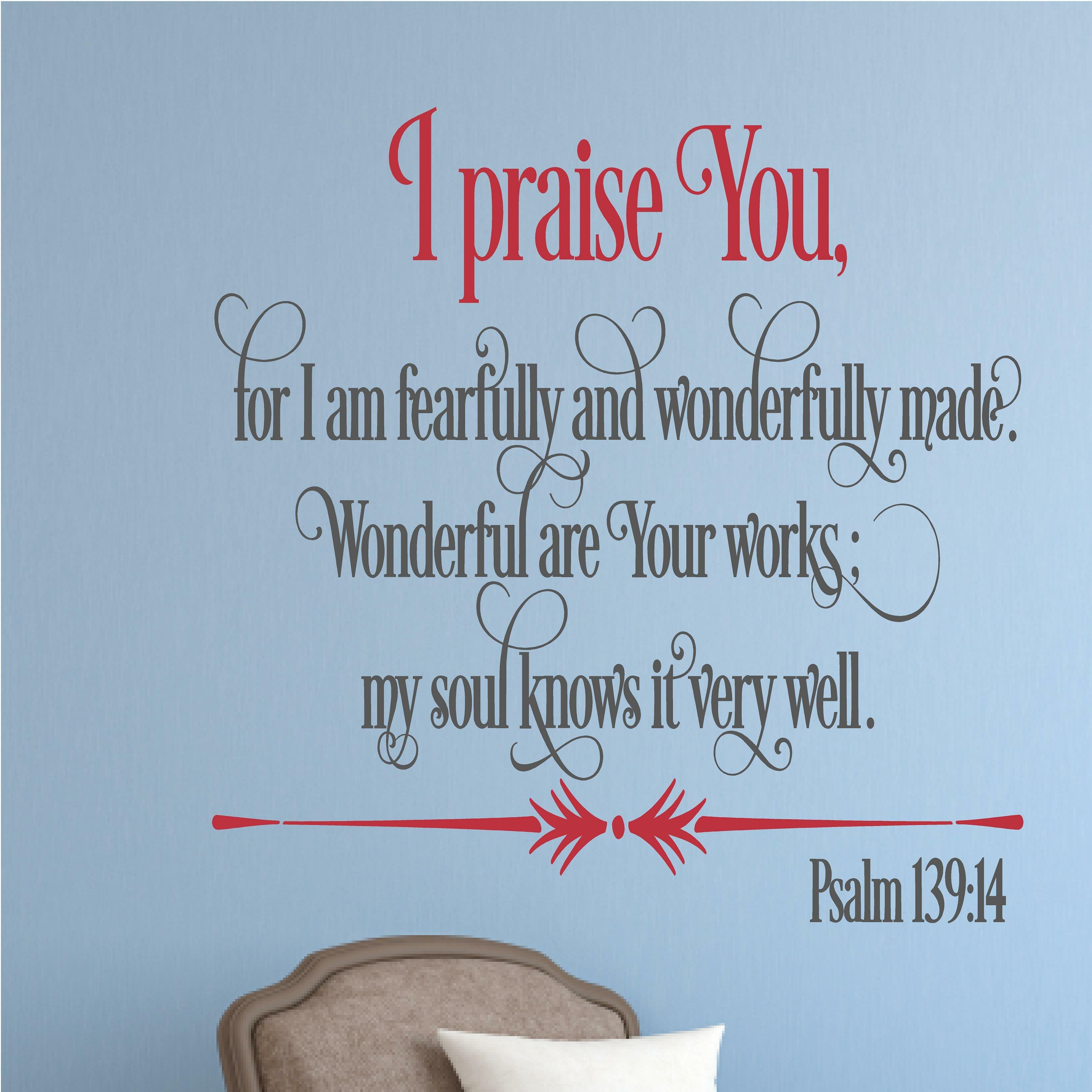 Enchantingly Elegant I Praise You Religious Bible Verse Wall Decal ...