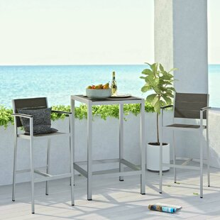 Coline Outdoor Patio Aluminum 3 Piece Bar Set