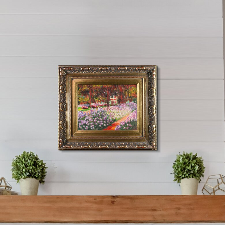 'Artists Garden at Giverny' Canvas Art by Claude Monet Impressionism in  Baroque Antique Gold Frame