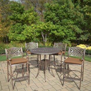 Fleur De Lis Living Braddock 5 Piece Sunbrella Bar Height Dining Set with Cushions