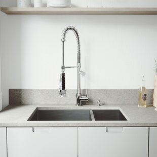 VIGO 29 inch Undermount 70/30 Double Bowl 16 Gauge Stainless Steel Kitchen Sink with Zurich Chrome Faucet, Two Grids, Two Strainers and Soap Dispenser