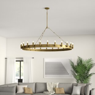 McKenney 24-Light Wagon Wheel Chandelier by Greyleigh